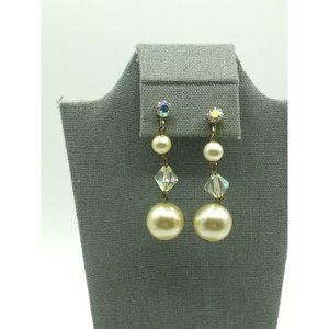 Vintage Crystal and Faux Pearl Long Dangle Earring
